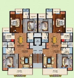 amrapali centurian park floor plan 3bhk 3toilet.