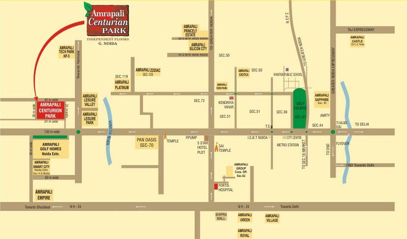 amrapali centurian park location map