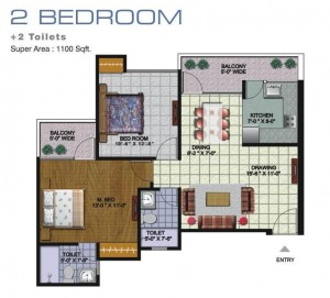 amrapali golf homes floor plan 2bhk 2toilet 1100 sqft