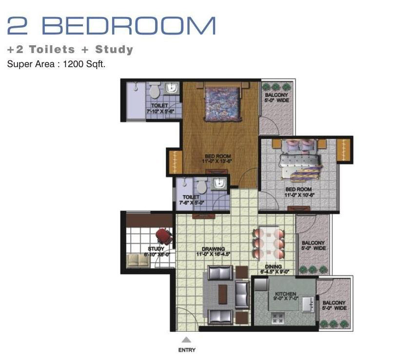 amrapali golf homes floor plan 2bhk 2toilet 1200 sqft