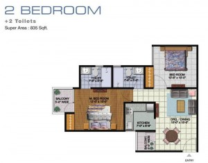 amrapali golf homes floor plan 2bhk 2toilet 835 sqft