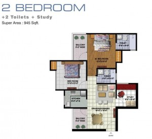 amrapali golf homes floor plan 2bhk 2toilet 945 sqft