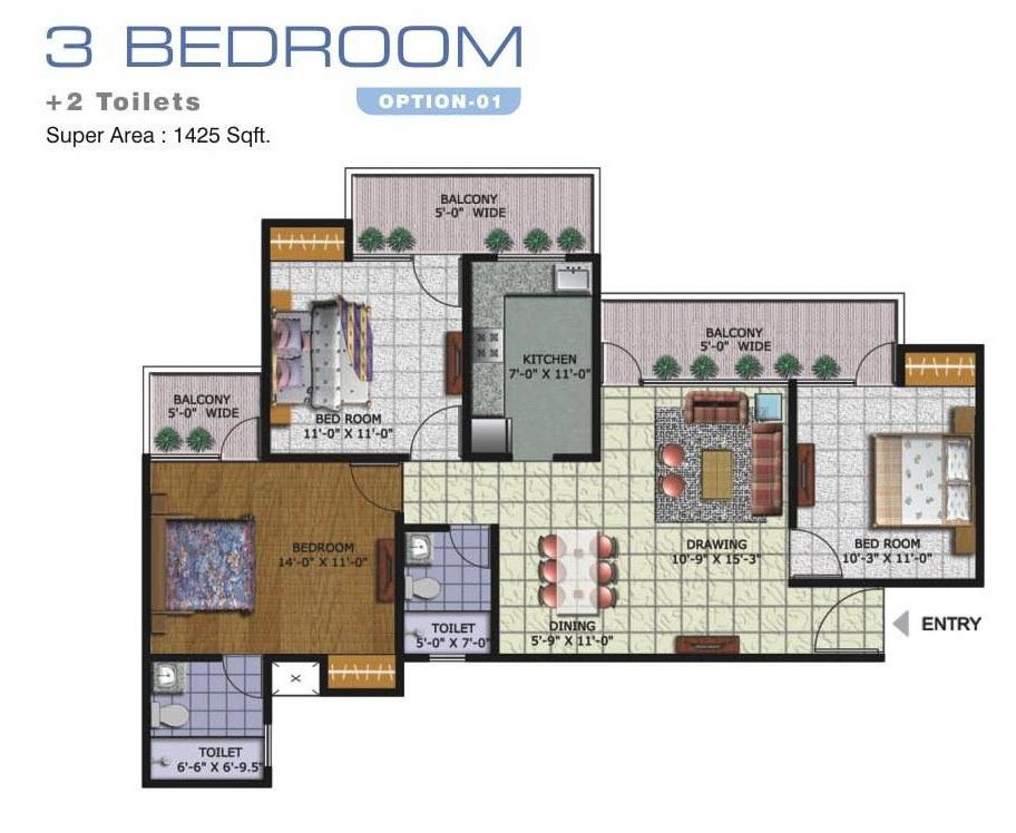 amrapali golf homes floor plan 3bhk 2toilet 1425 sqft