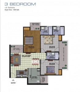 amrapali golf homes floor plan 3bhk 3toilet 1595 sqft