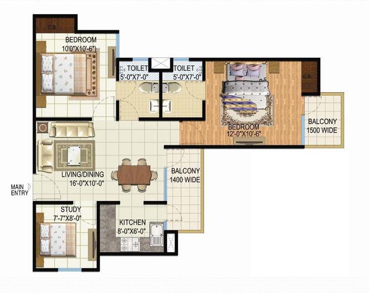 amrapali spring floor plan 2bhk 2toilet (2)