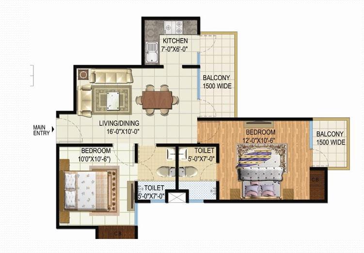 amrapali spring floor plan 2bhk 2toilet