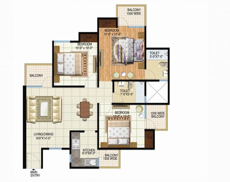 amrapali spring floor plan 3bhk 2toilet