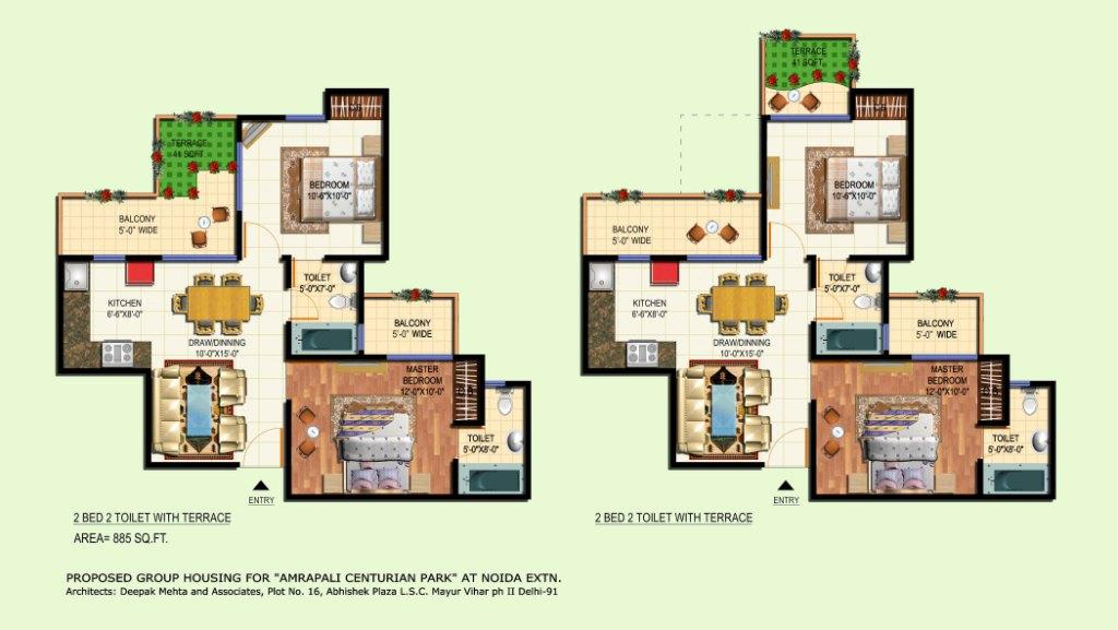 amrapali terrace floor plan 2bhk 2toilet 885 sqft