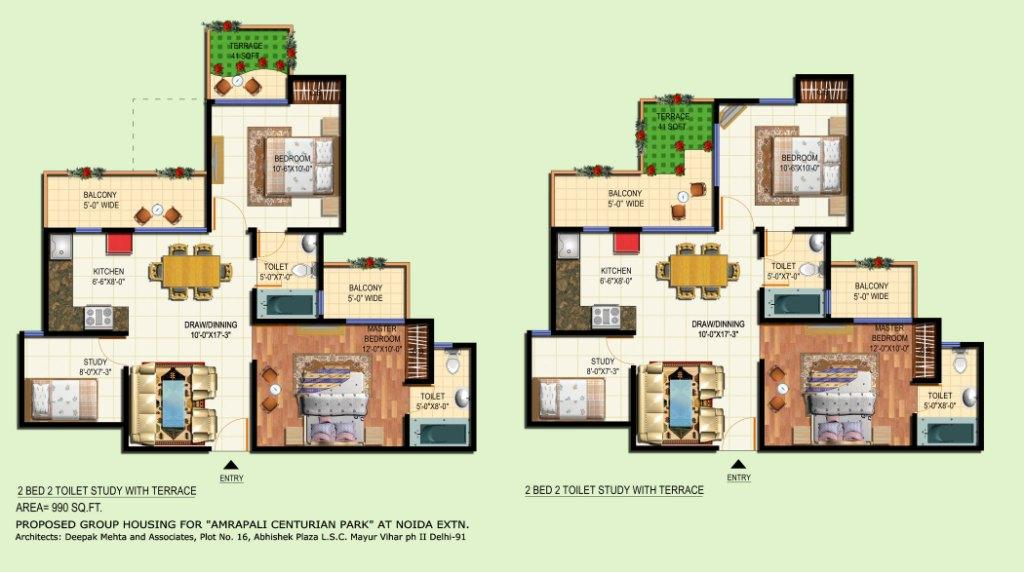 amrapali terrace floor plan 2bhk 2toilet 990 sqft