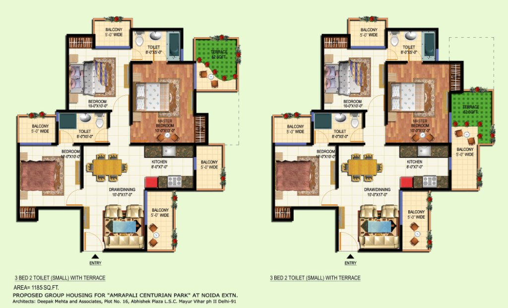 amrapali terrace floor plan 3bhk 2toilet 1185 sqft