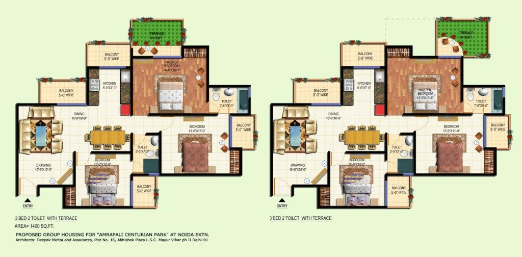 amrapali terrace floor plan 3bhk 2toilet 1400 sqft