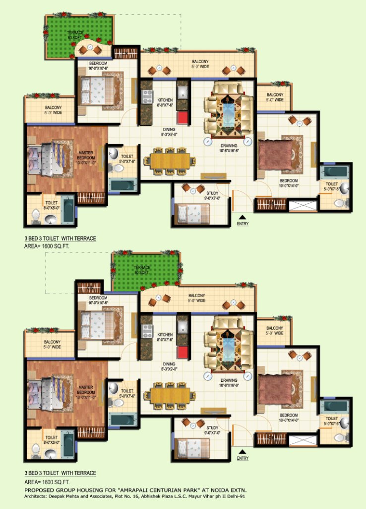 amrapali terrace floor plan 3bhk 3toilet 1600 sqft