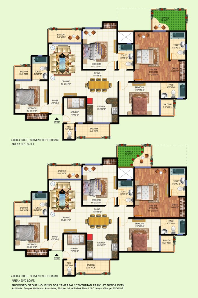 amrapali terrace floor plan 4bhk 4toilet 2070 sqft