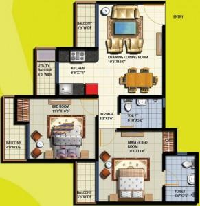 anthem floor plan 2bhk 2toilet