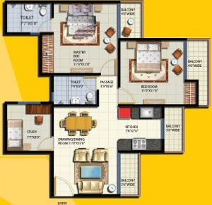 anthem floor plan 2bhk 2toilet.