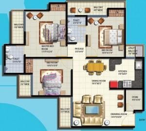 anthem floor plan 3bhk 2toilet