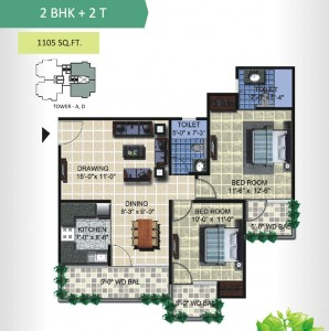 aranya homes floor plan 2bhk 2toilet 1105 sqft