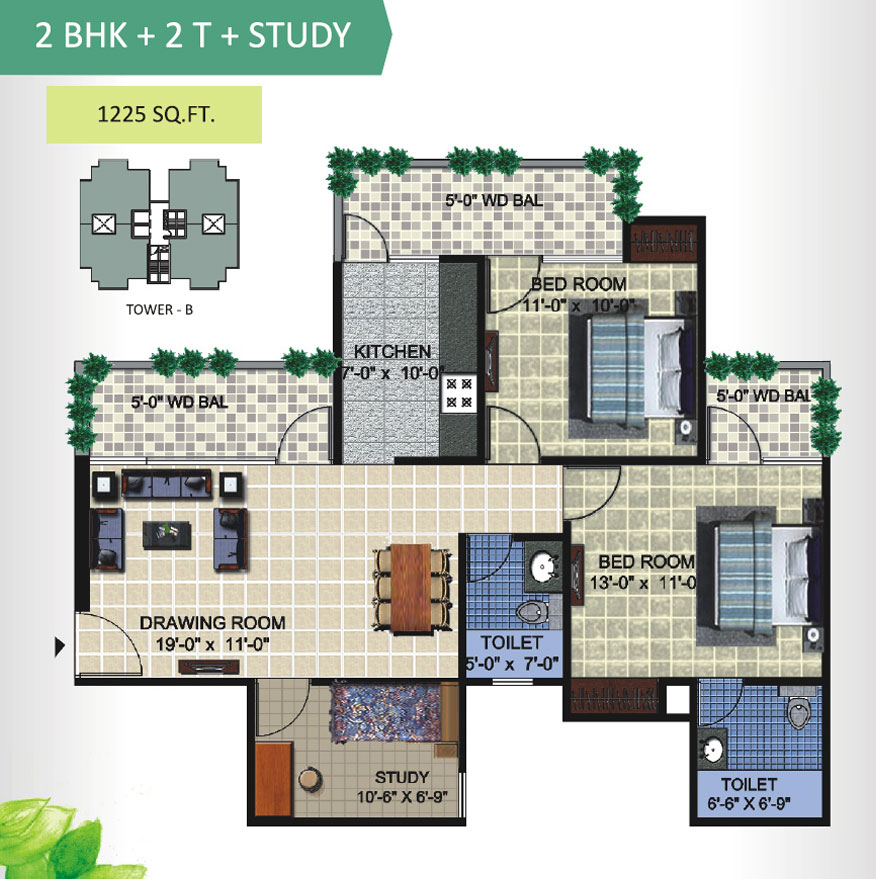 aranya homes floor plan 2bhk 2toilet 1225 sqft