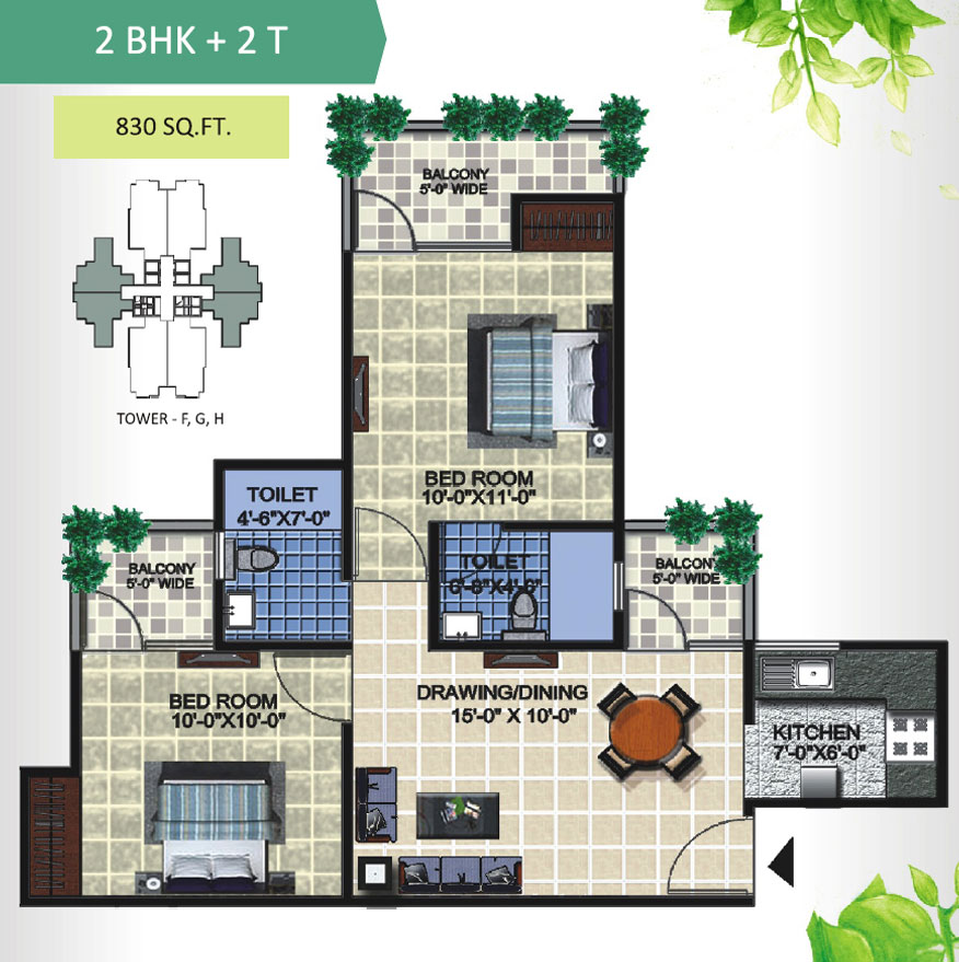 aranya homes floor plan 2bhk 2toilet 830 sqft