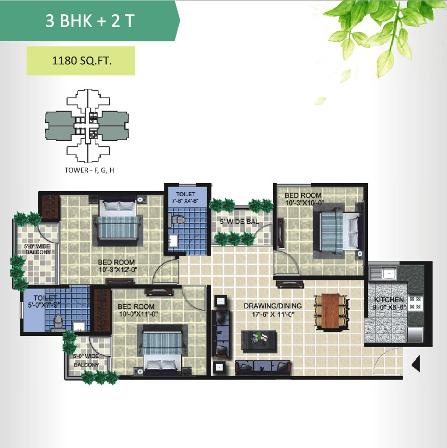 aranya homes floor plan 3bhk 2toilet 1180 sqft