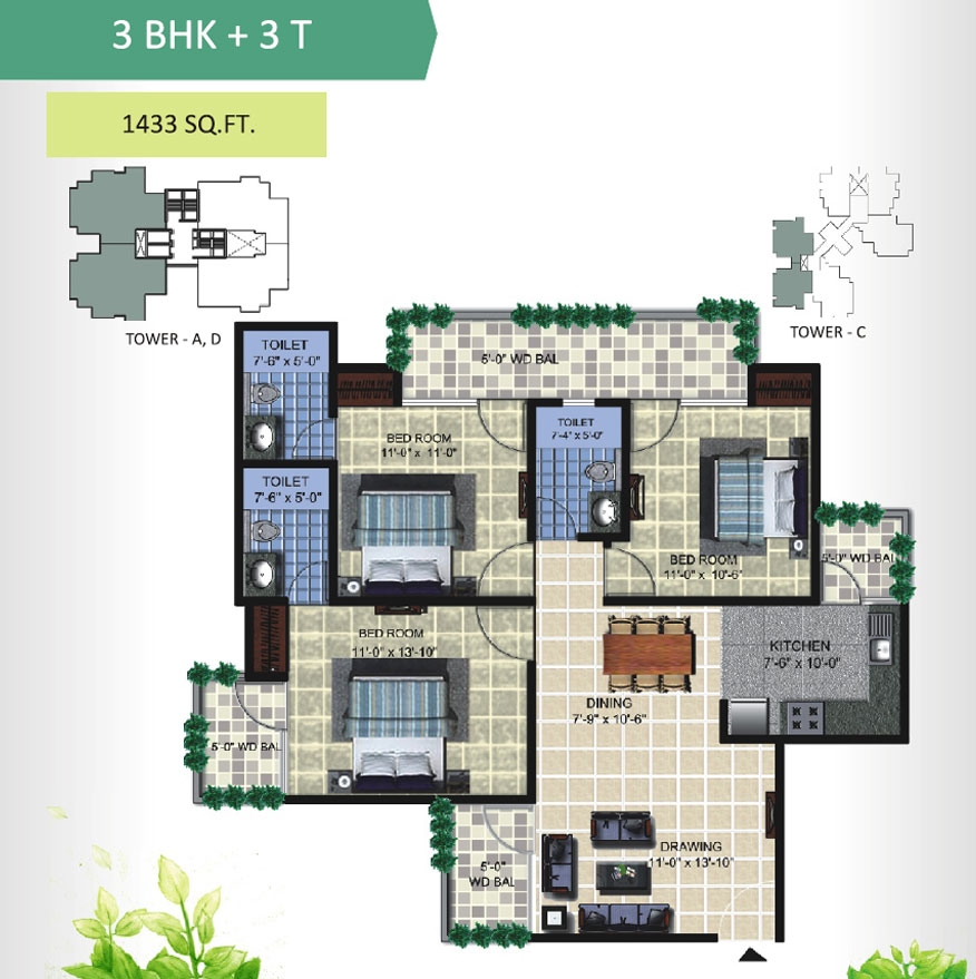 aranya homes floor plan 3bhk 3toilet 1433 sqft