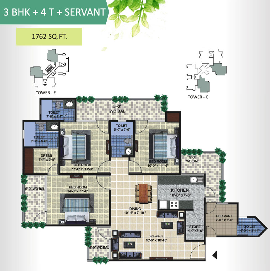 aranya homes floor plan 3bhk 4toilet 1762 sqft
