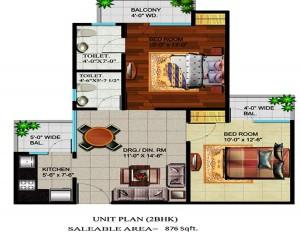 devika gold homz floor plan 2bhk 2toilet 876 sqft