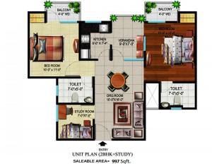 devika gold homz floor plan 2bhk 2toilet 997 sqft