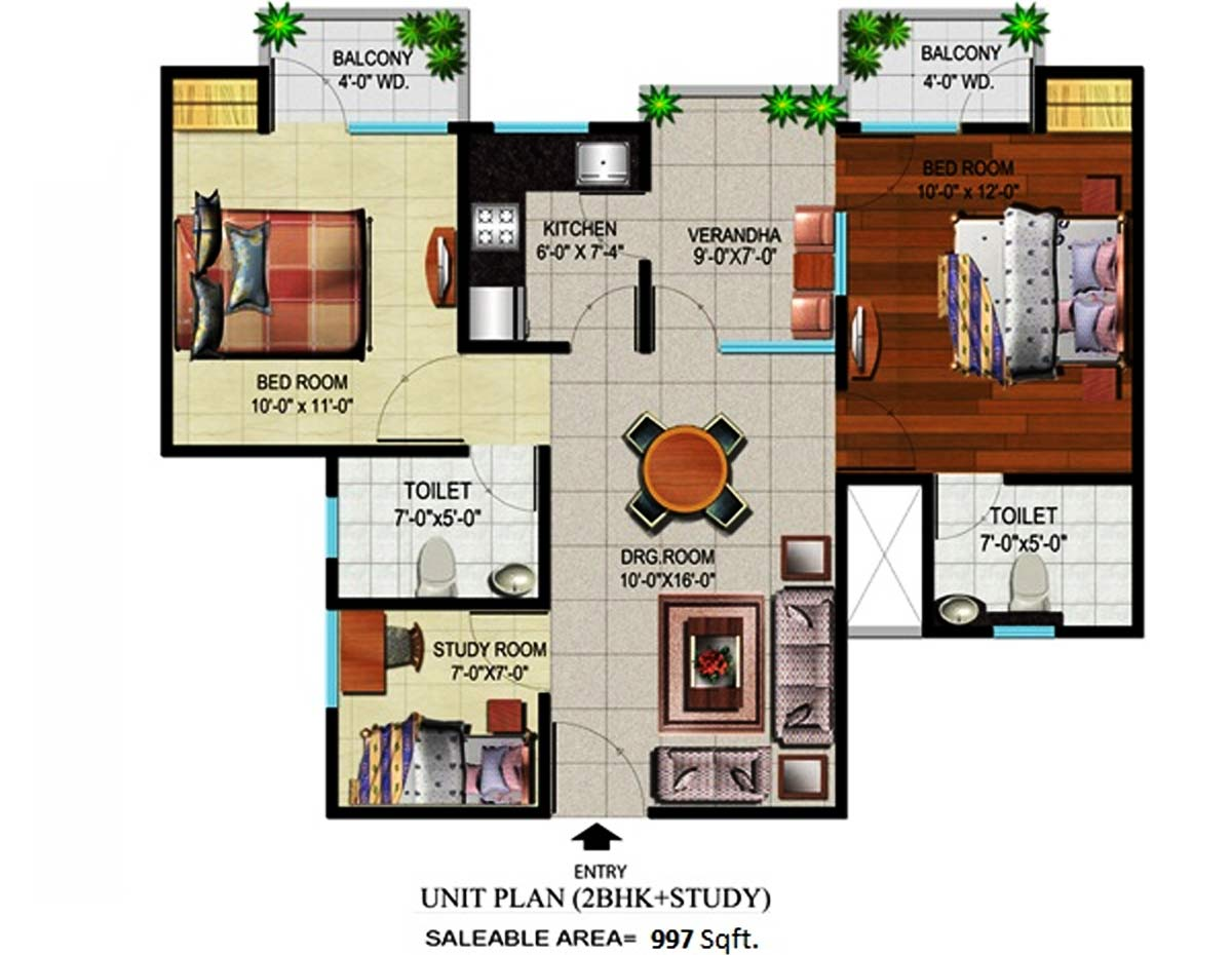 devika gold homz floor plan 2bhk 2toilet 997 sqft