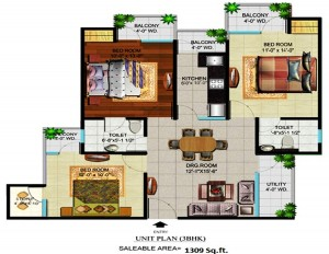 devika gold homz floor plan 3bhk 2toilet 1309 sqft