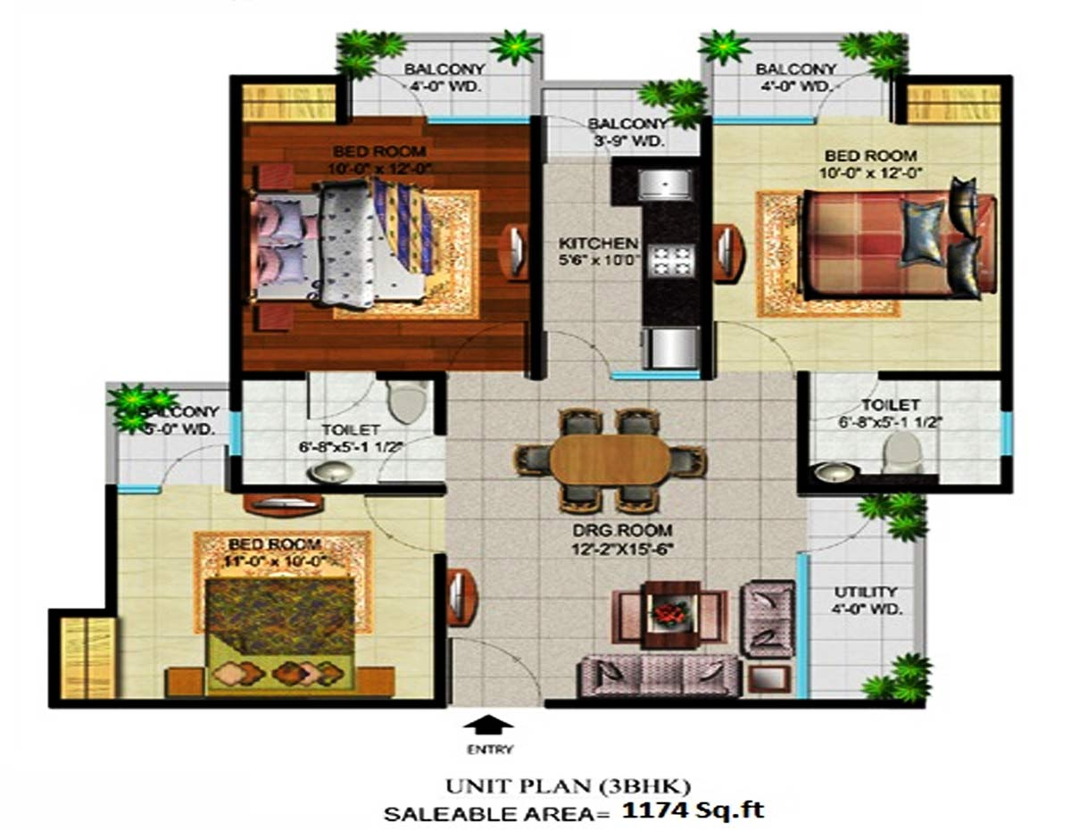 devika gold homz floor plan 3bhk m2toilet 1174 sqft