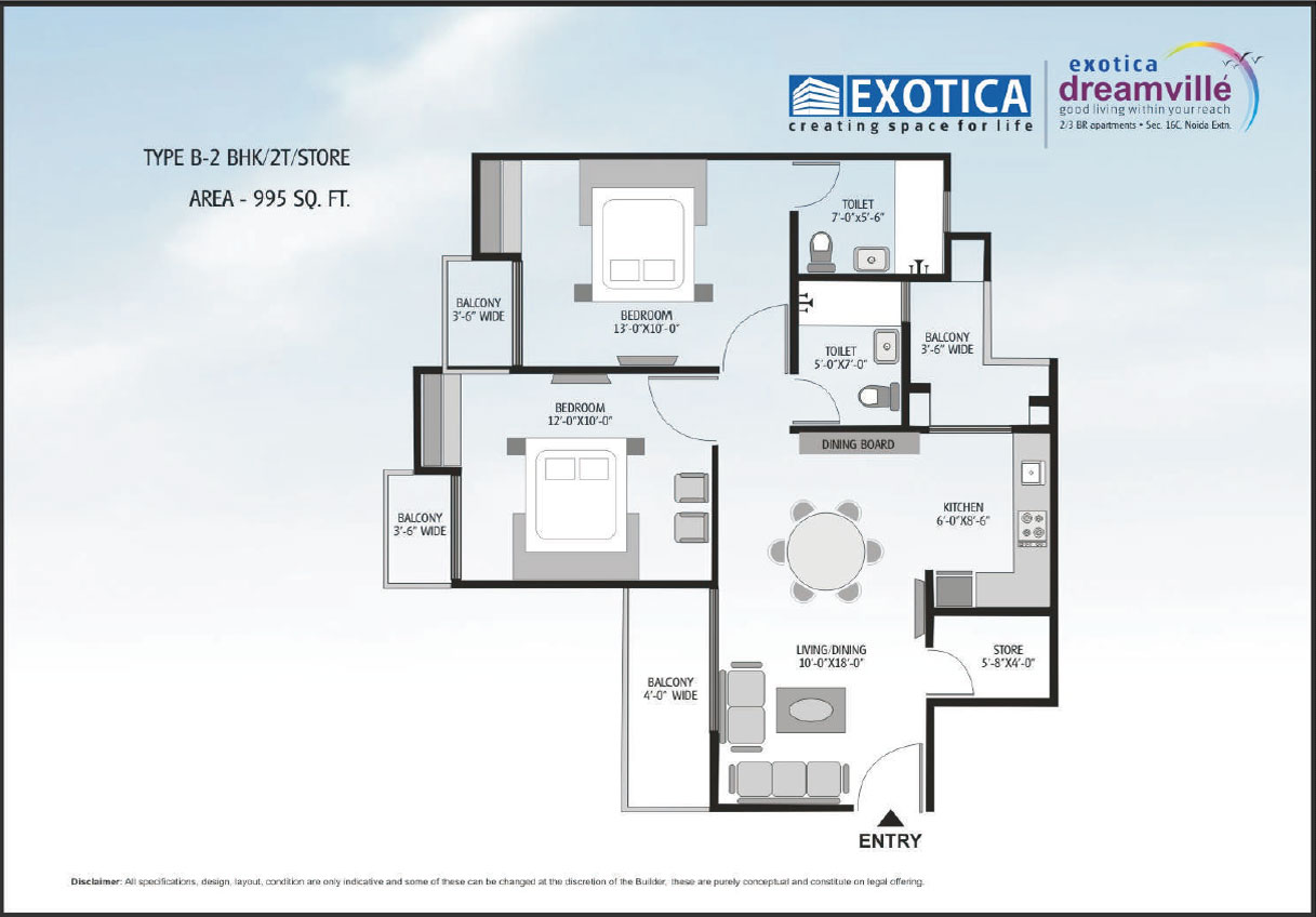 exotic dream vill floor plan 2bhk 2toilet 995 sqft