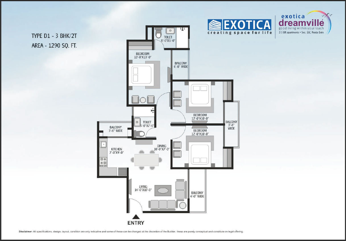 exotic dream vill floor plan 3 bhk 2toilet 1290 sq.ft