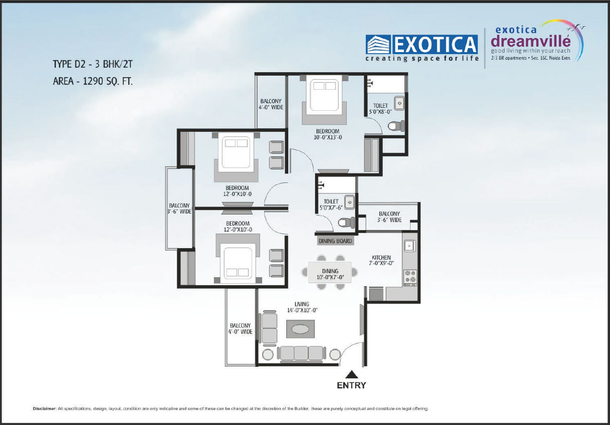 exotic dream vill floor plan 3bhk 2toilet 1290 sqft