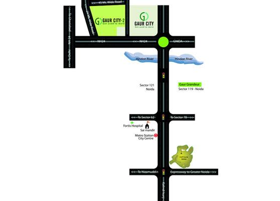 gaur city 2 Location Map