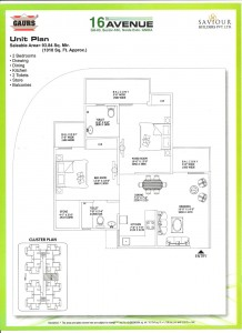 gaur city 2 floor plan 2bhk 2toilet 1010 sqft