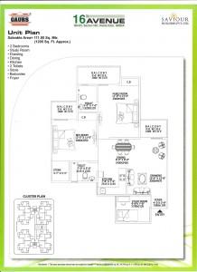 gaur city 2 floor plan 2bhk 2toilet 1205 sqft