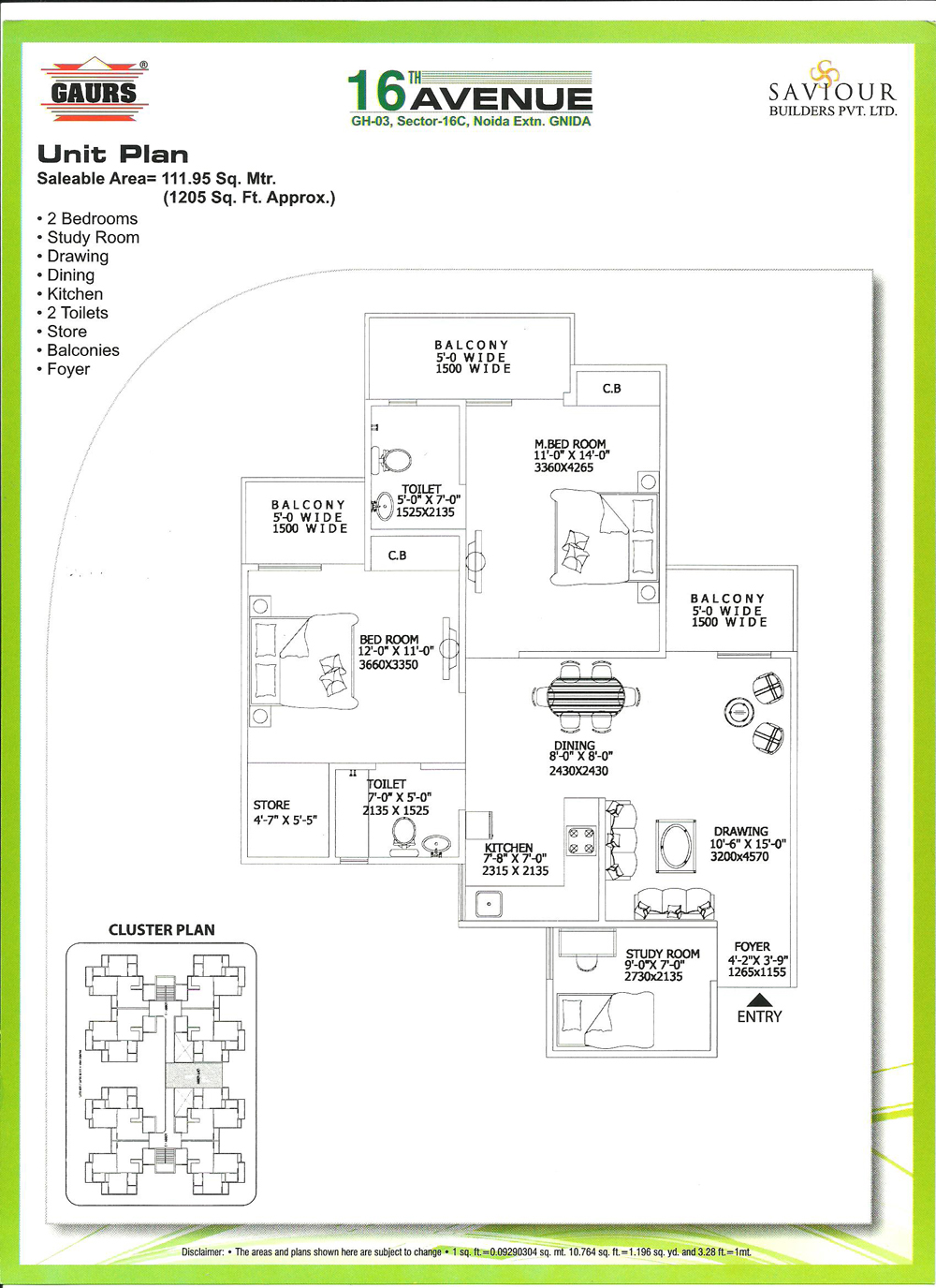 gaur city 2 floor plan 2bhk 2toilet 1205 sqft