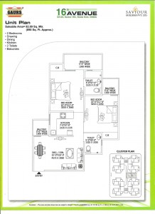 gaur city 2 floor plan 2bhk 2toilet 890 sqft