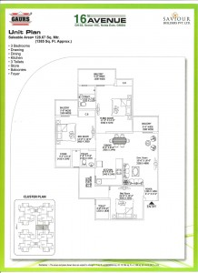 gaur city 2 floor plan 3bhk 3toilet 1385 sqft