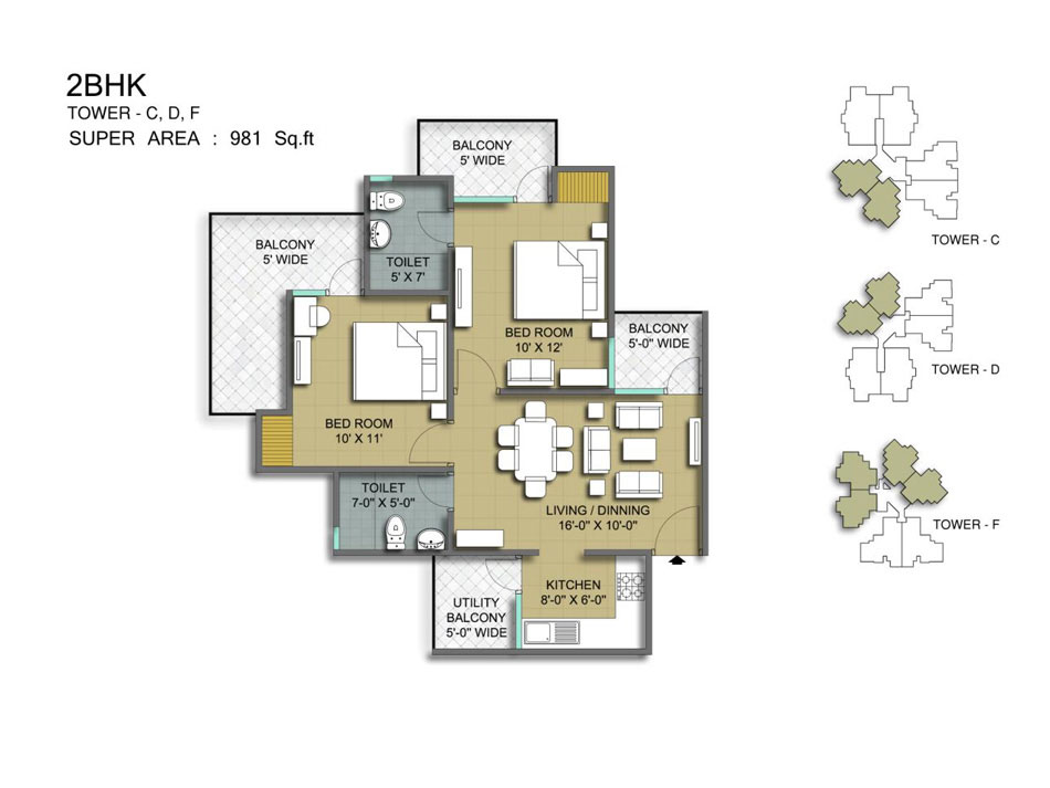 Mascot Manorath Floor Plan 2bhk 2toilet 981 Sqft