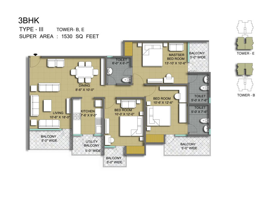 mascot manorath floor plan 3bjk 3toilet 1530 sqft