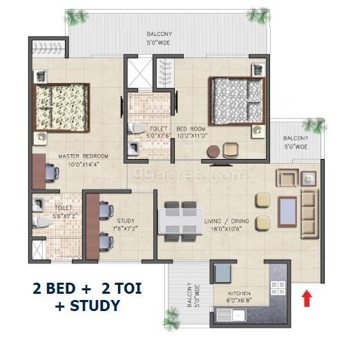 nirala aspire floor plan 2bhk 2toilet 1180 sqft