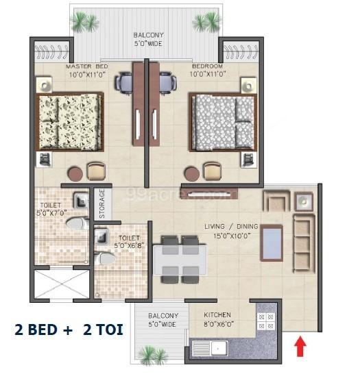 nirala aspire floor plan 2bhk 2toilet 890 sqft