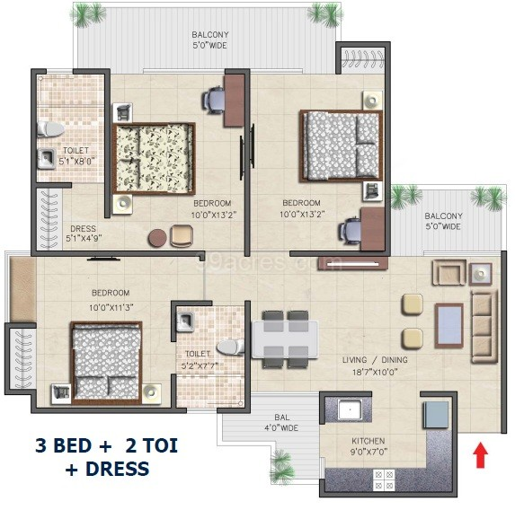 nirala aspire floor plan 3bhk 2toilet 1365 sqft