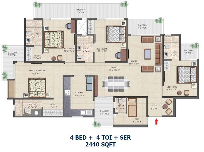 nirala aspire floor plan 4 bhk 4toilet 2440 sqft
