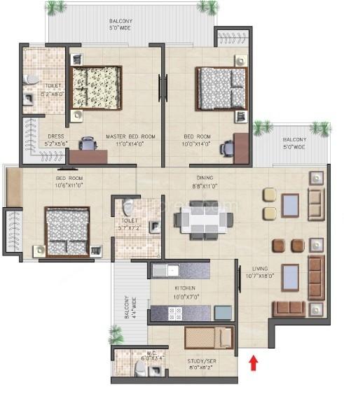 nirala aspire floor plan3bhk 3toilet 1710 sqft