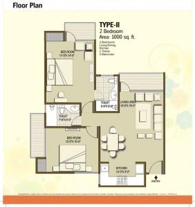 panchsheel hynish floor plan 2bhk 2toilet 1000 sqft