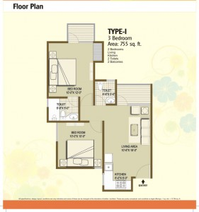 panchsheel hynish floor plan 2bhk 2toilet 755 sqft