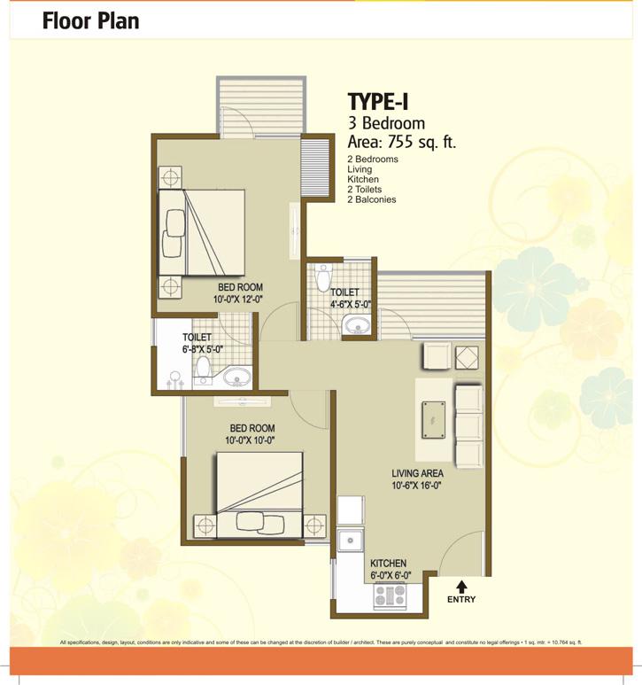 panchsheel hynish floor plan 2bhk 2toilet 755 sqft